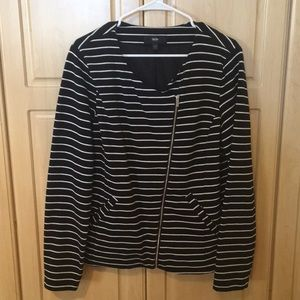 Missimo XXL black and white striped zip up jacket